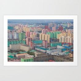 Colorful skyline of Pyongyang, North Korea Art Print