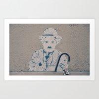 charlie chaplin Art Prints featuring Charlie Chaplin ! by Flo Croizier