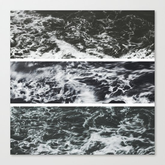 Saltwater Trytych Var II - blacks Canvas Print