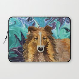 The Inquisitive Collie of the Psychedelic Dog Parade Laptop Sleeve