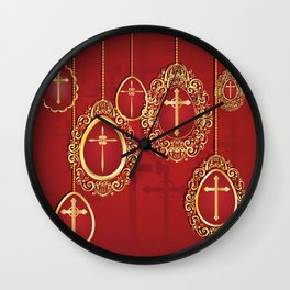 Gold crosses and eggs shapes on red Wall Clock