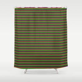 Phillip Gallant Media Design - Pink, Yellow, Green Lines on Black II Shower Curtain