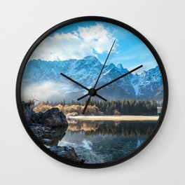 autumn sunrise at the alpine lake Wall Clock