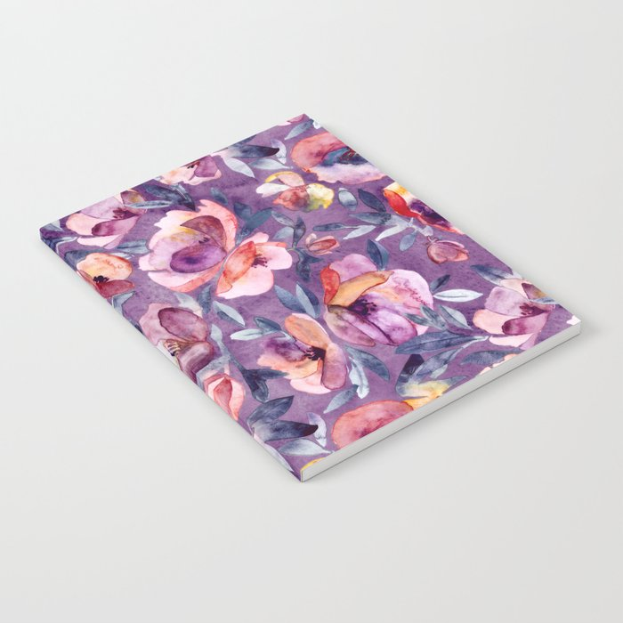 May Afternoon - a watercolor floral in purple and peach Notebook