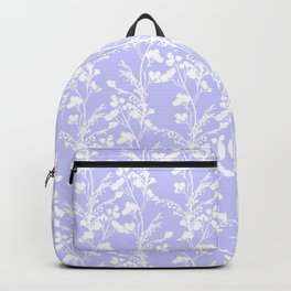 Flat Flower Silhouettes - Cut-Out Contrast in Periwinkle Purple and White Backpack