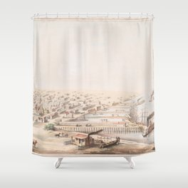 Vintage Pictorial Map of Galveston TX (1855) Shower Curtain