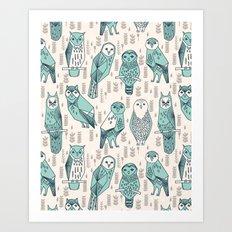 Parliament of Owls - Pale Turquoise by Andrea Lauren Art Print