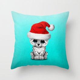 Christmas Snow Leopard Wearing a Santa Hat Throw Pillow