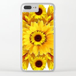 YELLOW SUNFLOWER  CLUSTER WHITE GARDEN ART Clear iPhone Case