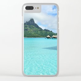 Luxury over-water resort with view on Bora Bora island Clear iPhone Case