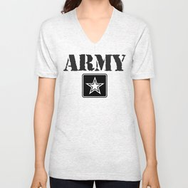 Army Shirt, Black Letters Unisex V-Neck