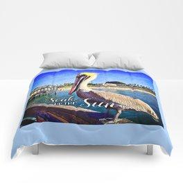 California beach pier pelican | Soak up the Sun Comforters