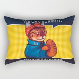 We can purr it , cats are strong parody we can do it Rectangular Pillow