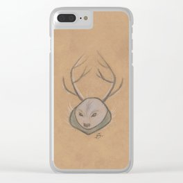 Blue Grey Deer of the snow Clear iPhone Case