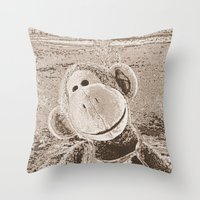 "outdoor Throw Pillows featuring Monkey ""Outdoor"" by Ruby and Gunther"
