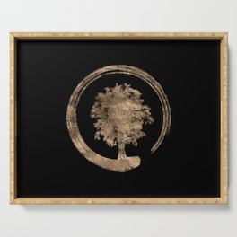 Enso Zen Circle and Tree - Gold on black Serving Tray