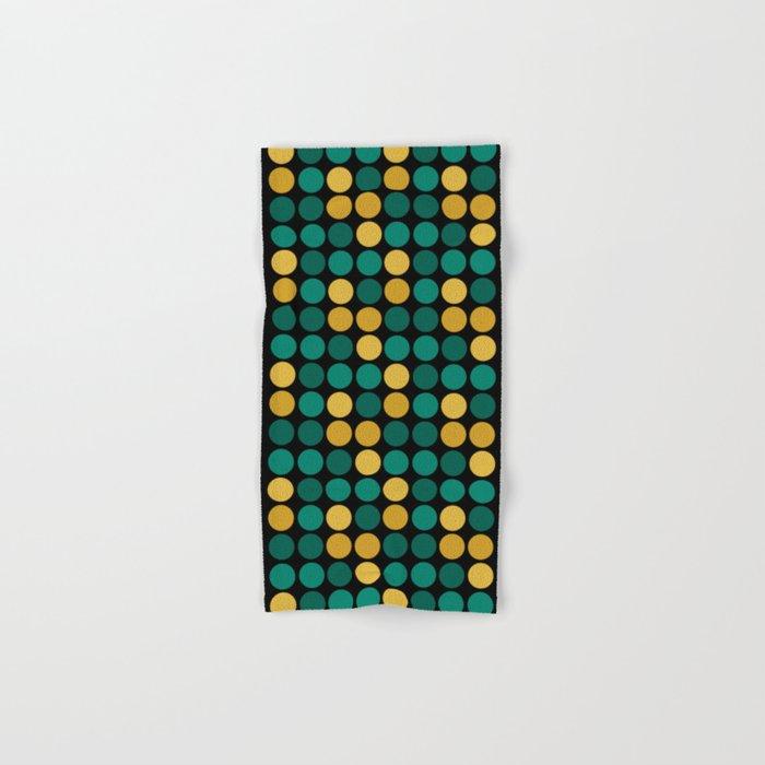 Yellow green polka dots on a black background . Hand & Bath Towel