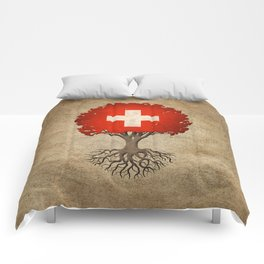 Vintage Tree of Life with Flag of Switzerland Comforters