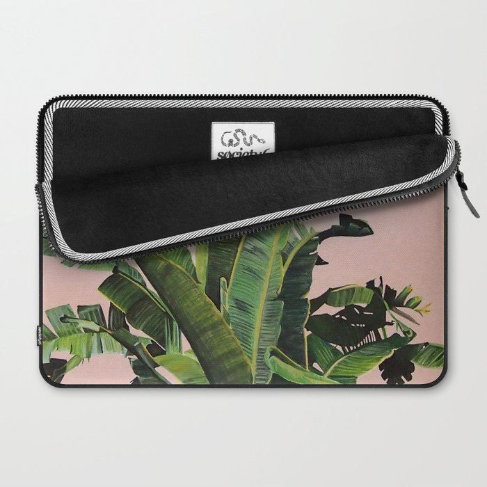 Tropical Palm leaves on pink Laptop Sleeve
