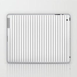 Mattress Ticking Narrow Striped Pattern in Charcoal Grey and White Laptop & iPad Skin