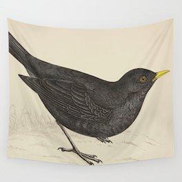 Blackbird. A history of British birds - Rev. F. O. Morris - 1862 Wall Tapestry