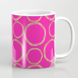 Hot Pink & Gold Circles Coffee Mug