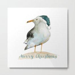 Coastal Christmas Seagull  Metal Print