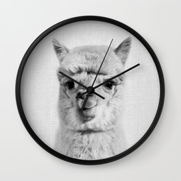 Alpaca - Black & White Wall Clock