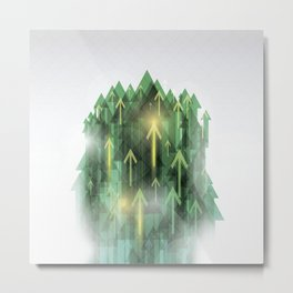 Abstract Mountains Forest Metal Print