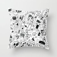 marauders Throw Pillows featuring Hogwarts, Hogwarts, Hoggy Warty Hogwarts by girlinplaits