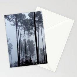Fog and Forest III-wood,mist,romantic, greenery,sunset,dawn,Landes forest,fantasy Stationery Cards