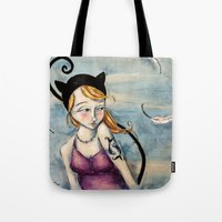 sparrow Tote Bags featuring Sparrow by Allison Weeks Thomas