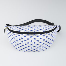 Cobalt Blue Star Pattern on White Fanny Pack