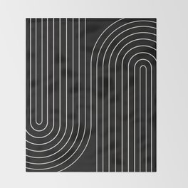 Minimal Line Curvature - Black and White II Throw Blanket
