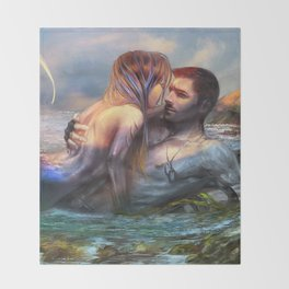 Take my breath away - Mermaid in love with soldier on the beach Throw Blanket