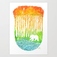 Bear by River Art Print