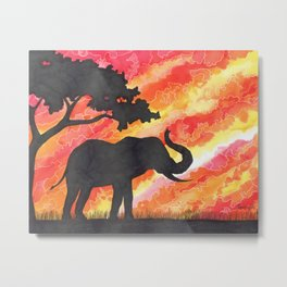 Elephant Silhouette. Watercolour. Metal Print