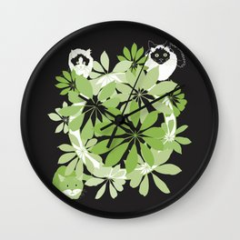 Black, white and green cats Wall Clock