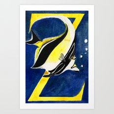 Z is for Zanclus cornutus ( Moorish Idol) Art Print