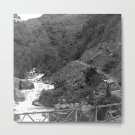 Alpine Bridge Adventure B&W Metal Print