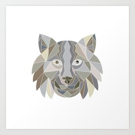 Lynx Cat Head Low Polygon Art Print