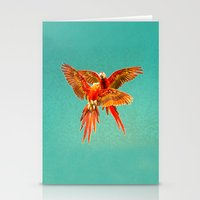 karu kara Stationery Cards featuring INFLIGHT FIGHT by Catspaws