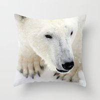 polar bear Throw Pillows featuring Polar Bear by MVision Photography