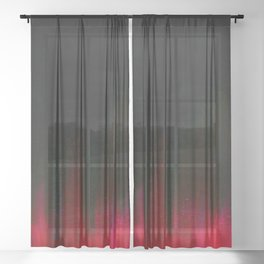 Red and Black Abstract Sheer Curtain