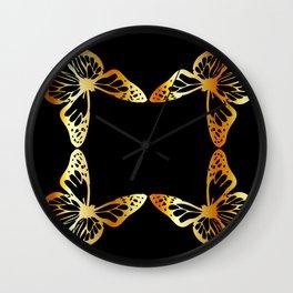 Golden butterflies flying against black Wall Clock