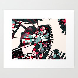 Abstract Map- Boston Harbor Art Print