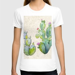 Water Color Prickly Pear Cactus Adobe Background T-shirt