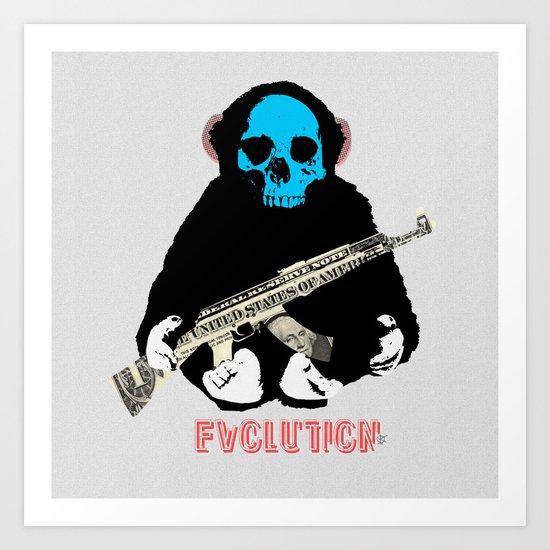 Evolution - (The MonkeyMan & The Gun) Art Print
