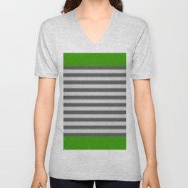 Green Black White Stripes Unisex V-Neck