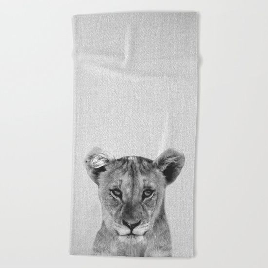 Baby Lion - Black & White Beach Towel